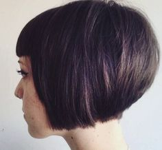 chin-length stacked bob with cropped bangs