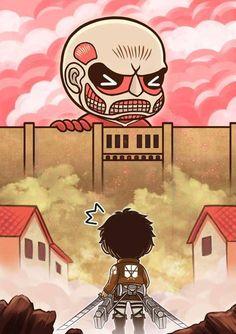 Shingeki No Kyojin (Attack On Titan) - Eren Jaeger x Colossal Titan Chibi Dibujos Anime Chibi, Chibi Anime, Chica Anime Manga, Kawaii Chibi, Anime Kawaii, Chibi Eren, Ciel Nocturne, Fanart, Attack On Titan Anime
