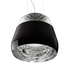 Valentine by Marcel Wanders for Moooi. Blown glass with a pattern on the bottom, inside a spun metal shade, the outside of which can be black, white, chrome or gold.