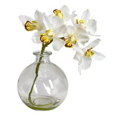 Faux White Cymbidium Orchid (Set of 3)