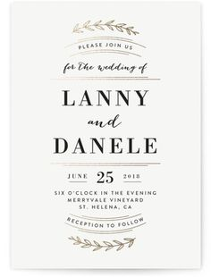 Elegant Announcement Foil-Pressed Wedding Invitations