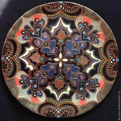 Купить Тарелка декоративная Idyll - орнамент, точечная роспись, point-to-point, Настенная тарелка