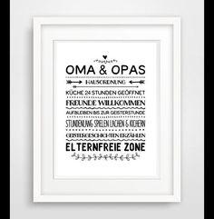 Oma Opa Hausordnung Famile Poster Druck Geschenke Postergeschäfteprodukte