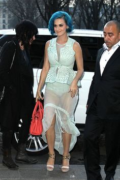 Katy Perry Photos Photos - Katy Perry wears a sheer skirt as she is spotted out and about in Paris during fashion week. - Katy Perry in a Sheer Skirt