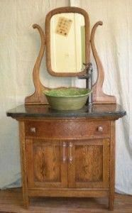 I have a 104 yr old dry sink that I want to turn into a bathroom vanity. minus the mirror. Farmhouse Bathroom Sink, Primitive Bathrooms, Diy Bathroom Vanity, Vanity Sink, Bathroom Storage, Bathroom Ideas, Bathroom Pink, Bathroom Stand, Dresser Vanity