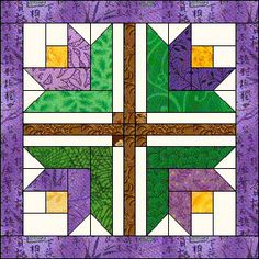Spring Crocus Quilt Block Pattern. Azpatch.com BOM March 2006 Quilt. Also called Log Cabin tulip block.