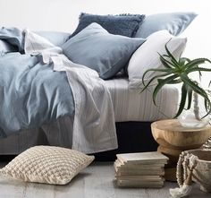 Nimes Quilt Cover Set Range Soft Blue - Quilt Covers - Bed