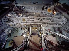 The interior of the Apollo 11 Command Module, Columbia, which was controlled by command module pilot Michael Collins.