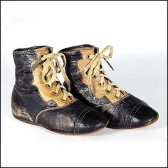 Victorian Black & Tan Child's Shoes or Boots - Children's - Dolls - 19th C - Antique