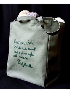 Elizabeth Zimmerman knitting bag - words of wisdom from a knitting guru