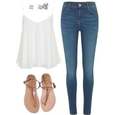 Swing Camisole. Diamond Studs. Skinny Jeans & Leather Flip-flops