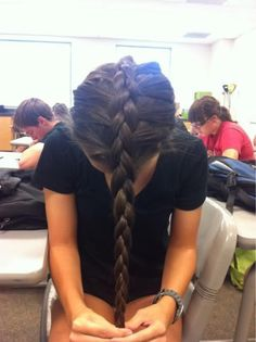 Upside down french braid- perfect for overnight waves.