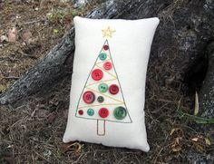 Primitive Christmas Button Tree Embroidered Pillow Tuck Decor - Original Design