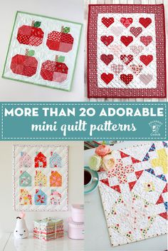 More than 20 adorable and simple Mini Quilt patterns that you can create in a weekend. Free mini quilt patterns and tutorials. Free Baby Quilt Patterns, Beginner Quilt Patterns, Quilting For Beginners, Quilting Tutorials, Quilting Projects, Quilting Ideas, Sewing Projects, Beginner Quilting, Sewing Tips