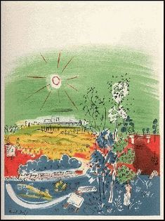 Raoul Dufy Lithography Printed by Mourlot, Paris - Landscape with locomotive List Of Artists, Famous Artists, Contemporary Printmaking, Raoul Dufy, Poster Prints, Art Prints, Pattern Art, Landscape Art, Art Day