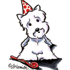 Westie Party Animal by Andie of Off-Leash Art™