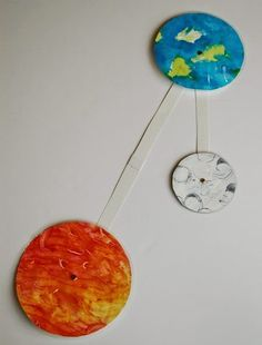 Sun, Earth, and Moon model for outer space, solar system, or astronomy theme unit for kids.  Great science AND art project for preschool or elementary age.