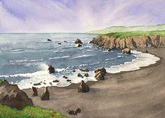 "Bruce MacEvoy schoolhouse beach watercolor and graphite Arches CP 300 gsm, 10"" x 14"" 2005 http://www.handprint.com/HP/WCL/ARCHIVE/LANDSCAPE/SONOMA/sonoma.html"
