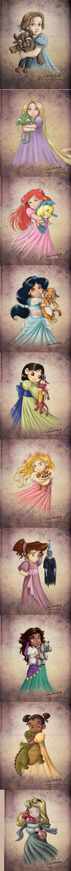 Disney princesses before they grew up and met their Prince Charming's.    http://moonchildinthesky.deviantart.com/
