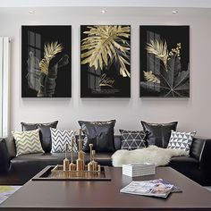 Abstract Golden Leaves Canvas Painting Nordic Plant Leaf Poster Wall Art Painting Pictures For Living Room Modern Home Decor Black Canvas Art, Modern Canvas Art, Canvas Art Prints, Canvas Wall Art, Canvas Paintings, Abstract Paintings, Living Room Pictures, Wall Art Pictures, Painting Pictures