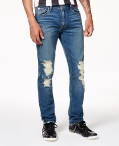 Guess Men's Light Blue Ripped Jeans - Blue 38