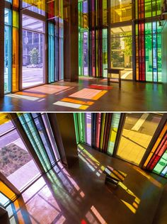 modern stained glass / Gethsemane Lutheran Church in Seattle by Olson Kundig Architects Modern Stained Glass, Stained Glass Art, Stained Glass Windows, Stained Glass Church, Interior Architecture, Interior And Exterior, Room Interior, Church Design, Glass Design