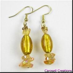Yellow with Gold Foil Murano Lampwork Glass Beadwork with glass chips oval earrings - Jewelry, Earrings, Dangle earrings, Drop Earrings, carosell creations, beadwork, glass earrings, yellow glass, beaded earrings, oval earrings, gold foil, lampwork beads, yellow jewelry, chunky earrings, gift for her, small dangle earring, summer earrings, etsy, handmade