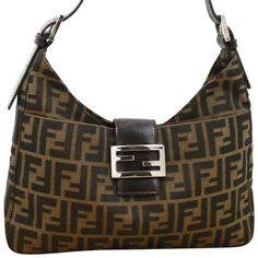 956cb94fce Zucca Monogram Print Shw Brown Leather Canvas Shoulder Bag. Tradesy