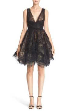 Marchesa Embroidered Tulle Fit & Flare Dress available at #Nordstrom