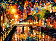 """""""Lights and shadows of Amsterdam"""" by Leonid Afremov ___________________________ Click on the image to buy this painting ___________________________ #art #painting #afremov #wallart #walldecor #fineart #beautiful #homedecor #design"""
