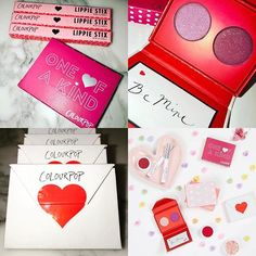 #Valentines2017 ❤️@colourpopcosmetics Includes ❤ 5 duo pressed powder sets, 3 new Lippie Stix in NEW Finish, 1 all new foursome & 2 super shadow shadows, 1 mini Matte liquid lip, 1 new tie dye highlighter These little envelopes!!! (Eyeshadow duos) Such a cute packaging!!