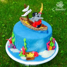 Benjamin Blümchen als Pirat Torte Elephant Cakes, Character Cakes, Sugar Art, Fondant Cakes, Birthday Cake, Desserts, Food, Kuchen, Birthday Cake Toppers