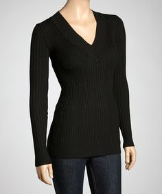 Look at this #zulilyfind! Black V-Neck Sweater - Plus by Yoki #zulilyfinds