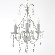 18 H 14 W Wrought Iron and Crystal White Chandelier Pendant