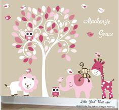 Baby weiß Baum Wand Aufkleber Dschungel Tiere Kinderzimmer