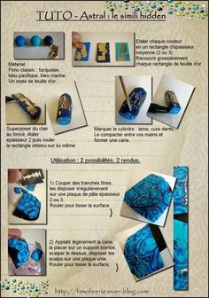 Tutorial needs translation, but pictures are pretty self explanatory from the Fimo Feerie Polymer Clay Kunst, Polymer Clay Canes, Fimo Clay, Polymer Clay Projects, Polymer Clay Creations, Polymer Clay Beads, Clay Crafts, Video Fimo, Clay Design