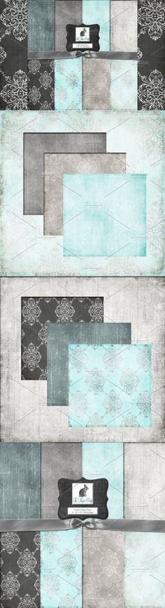 Teal & Gray Damask Backgrounds #tealdamask #weddingbackground Wedding Background, Paper Background, Damask Patterns, Background For Photography, Mixed Media Art, I Shop, Wedding Invitations, Backgrounds, Teal