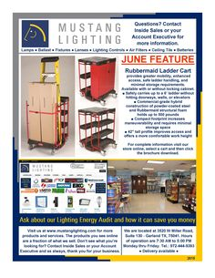 Our June Feature is the Rubbermaid Ladder Cart that provides greater mobility, enhanced access, safe ladder handling, and minimal storage requirements. For complete information visit our store online, select a cart and then click the brochure download.