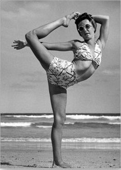 1940's beach yoga, More inspiration at: http://www.valenciamindfulnessretreat.org