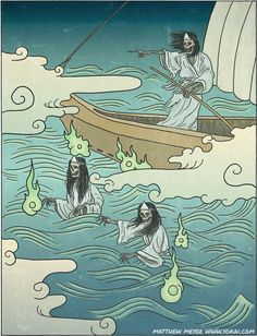 JAPAN's_Funa-yūrei: When the ghosts of people who have died at sea transform into vengeful spirits, they become a particular type of ghost called a funa-yūrei.