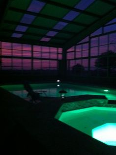 Winter sunset by the pool.