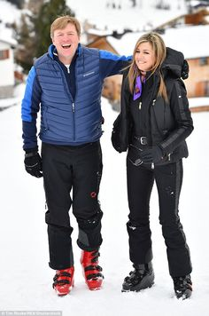 The loved-up royals shared a laugh as they prepared to hit the pistes...