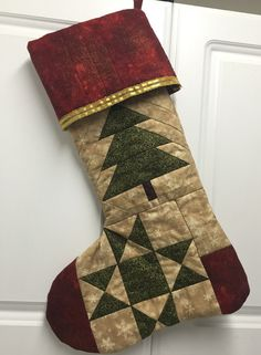 Quilted Stocking, Quilted Christmas Stocking, Christmas tree stocking, Red Green and Gold stocking - Large, Personalization available