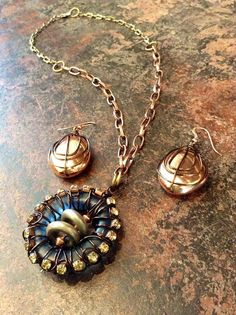 Mixed Metal Colored Copper Wire Wrapped Glass Pendant and Copper Earrings