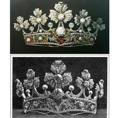 #royal #tiara by Lluís #Masriera for #Queen #VictoriaEugenia of #Spain design and result #diamonds #pearls #gold  and multi-color #pliqueajour #enamel #CatalanModernism #ArtNouveau #barcelona find the 7 differences  #tiara #real de Lluís Masriera para la Reina Victoria Eugenia de España diseño y resultado final #perlas #diamantes #oro #esmalte #multicolor #plique-a-jour #ModernismoCatalán encuentra las 7 diferencias  #DeJoyaEnJoya #FromJewelToJewel #royals #RoyalJewels #LostJewels #barcelona…