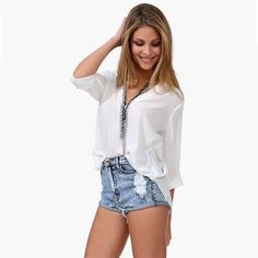 New Fashion Women Chiffon Blouse Sexy V-Neck Stand Collar Long Sleeve Shirt  Tops White a3c21f6afe6e