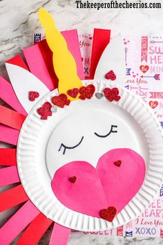 Valentines Day Unicorn Paper Plate CraftValentines Day Unicorn Paper Plate Craft, Craft Day Paper Plate unicorn Space craftsComet craft: First, have kids use black construction paper with crayons and draw planets and stars. Valentine's Day Crafts For Kids, Valentine Crafts For Kids, Daycare Crafts, Valentines Day Activities, Classroom Crafts, Valentines Diy, Toddler Crafts, Preschool Crafts, Holiday Crafts