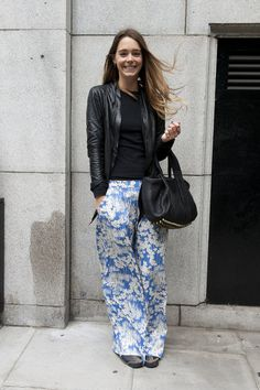 Love the fresh trousers and gold rings! - Street Style at London Fashion Week Spring 2014