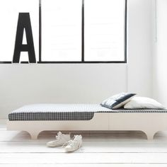A teen bed for wide mattress. Minimal, low design for a stylish bedroom. Made from natural finnish birch plywood. Grey Furniture, Kids Furniture, Bedroom Furniture, Furniture Design, Kid Beds, Bunk Beds, Unique Kids Beds, Cama Junior, Lit Simple