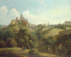Antonín Mánes - King's castle (Prague castle) from eastern side Prague Castle, Anton, Medieval, Abstract Art, Romantic, Artist, Czech Republic, Pictures, Painting Art